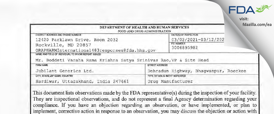 Jubilant Generics FDA inspection 483 Mar 2021