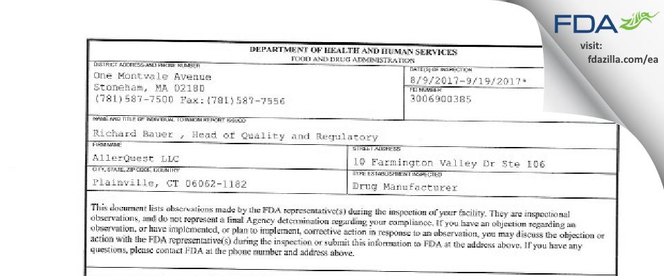 AllerQuest FDA inspection 483 Sep 2017