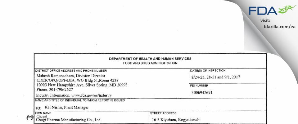 Chugai Pharma Manufacturing FDA inspection 483 Sep 2017
