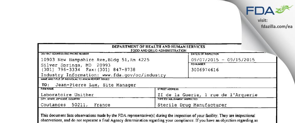 Laboratoire Unither FDA inspection 483 Sep 2015