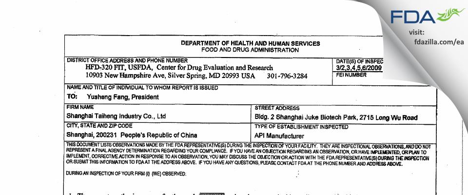 Tai Heng Industry FDA inspection 483 Mar 2009