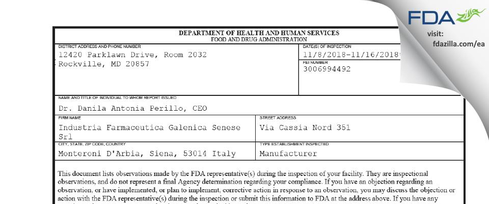 Industria Farmaceutica Galenica Senese Srl FDA inspection 483 Nov 2018