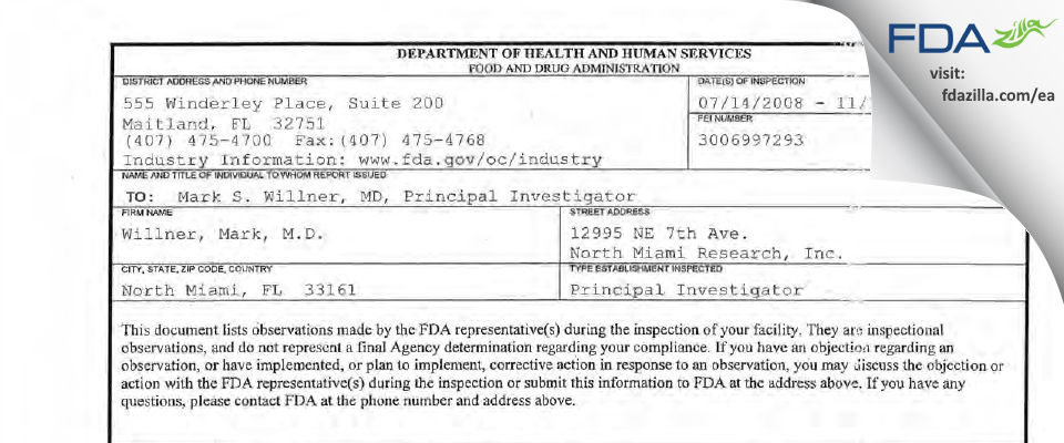 Willner, Mark, M.D. FDA inspection 483 Nov 2008