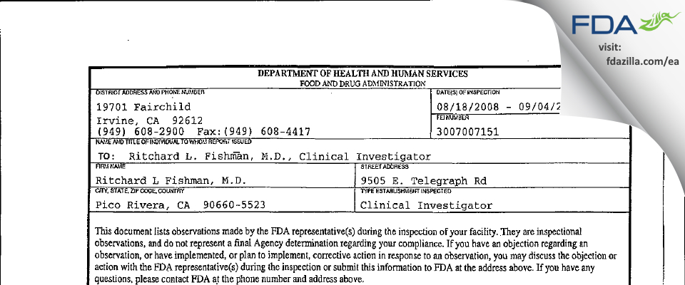 Ritchard L. Fishman, M.D. FDA inspection 483 Sep 2008