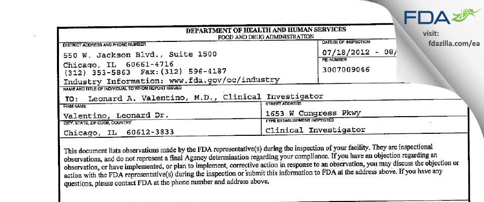 Valentino, Leonard A. Dr. FDA inspection 483 Aug 2012