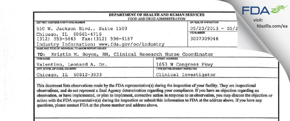 Valentino, Leonard A. Dr. FDA inspection 483 May 2013