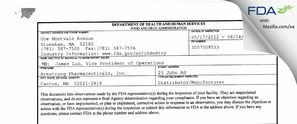 Armstrong Pharmaceuticals FDA inspection 483 Jun 2012