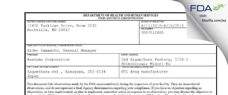 Asanuma FDA inspection 483 Jun 2018