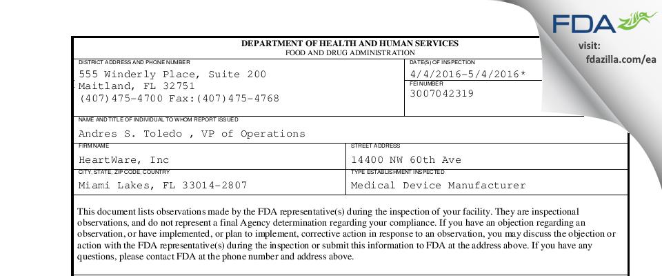 Heartware FDA inspection 483 May 2016