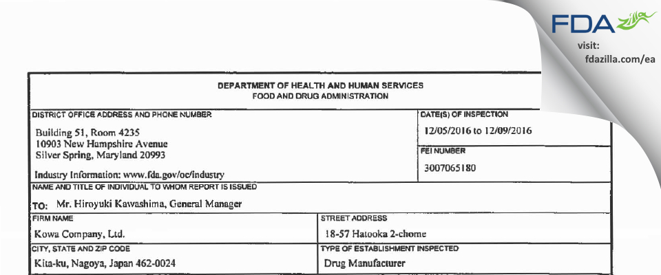 Kowa Company FDA inspection 483 Dec 2016
