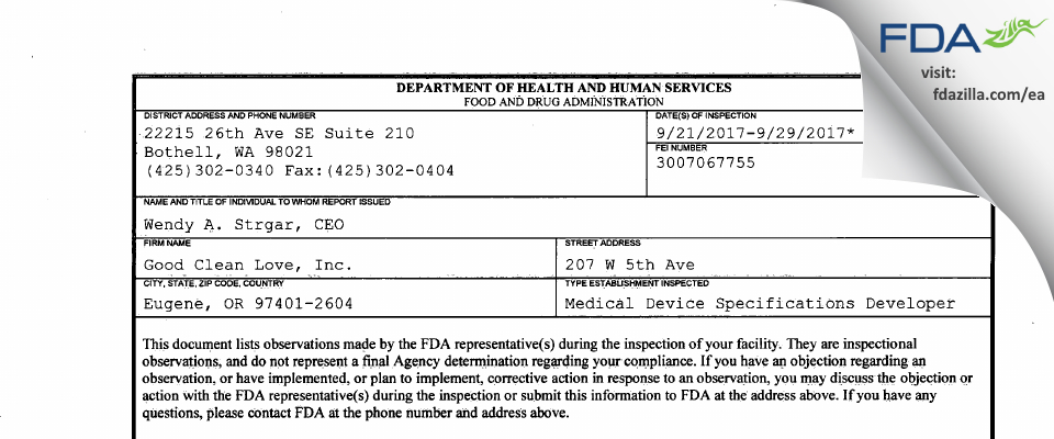 Good Clean Love FDA inspection 483 Sep 2017