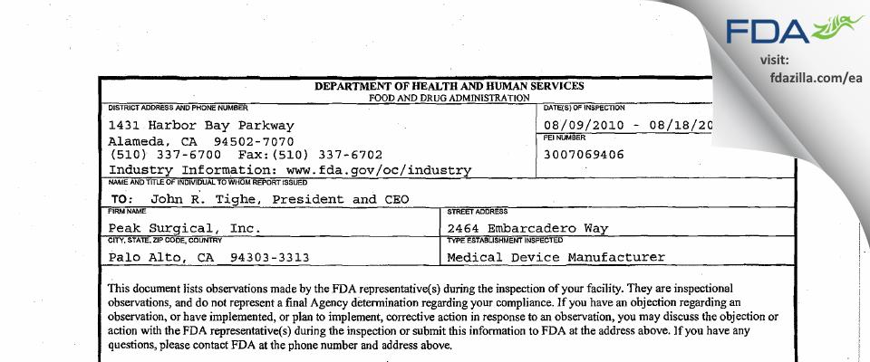 Medtronic Advanced Energy FDA inspection 483 Aug 2010