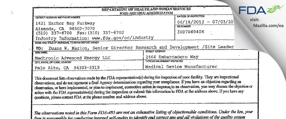 Medtronic Advanced Energy FDA inspection 483 Jul 2012