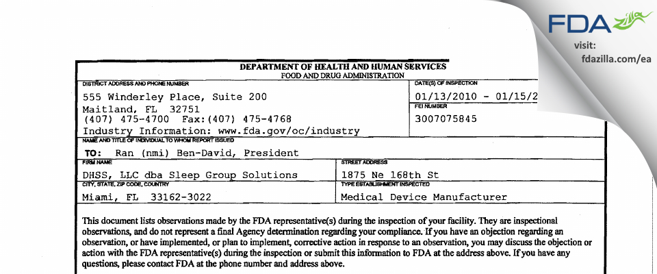 Sleep Group Solutions FDA inspection 483 Jan 2010