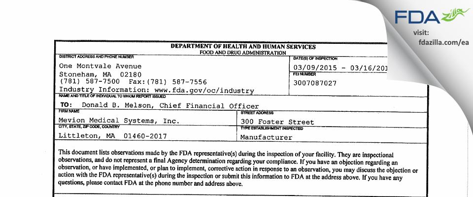 Mevion Medical Systems FDA inspection 483 Mar 2015