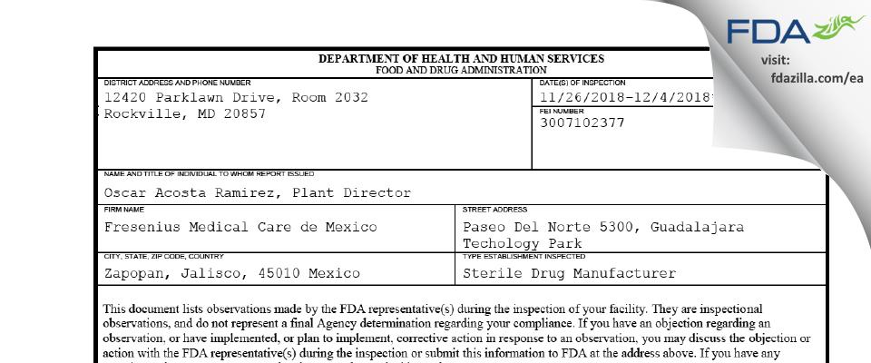 Fresenius Medical Care de Mexico FDA inspection 483 Dec 2018