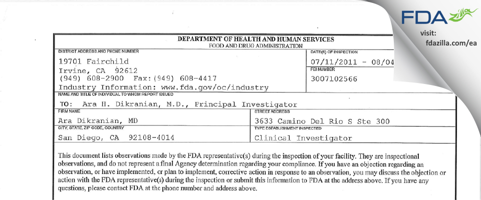 Ara Dikranian, MD FDA inspection 483 Aug 2011