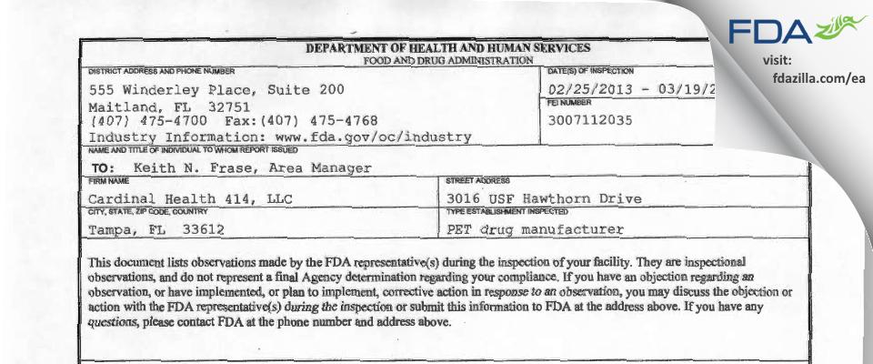Cardinal Health 414 FDA inspection 483 Mar 2013