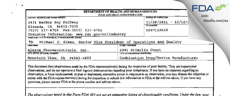 Alexza Pharmaceuticals FDA inspection 483 Dec 2011
