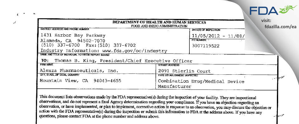 Alexza Pharmaceuticals FDA inspection 483 Nov 2012
