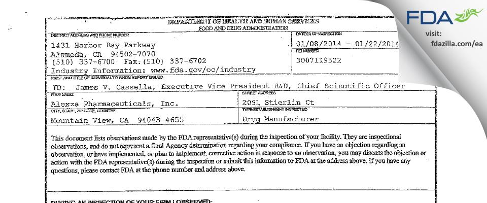 Alexza Pharmaceuticals FDA inspection 483 Jan 2014