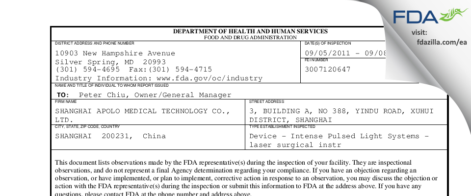 SHANGHAI APOLO MEDICAL TECHNOLOGY FDA inspection 483 Sep 2011
