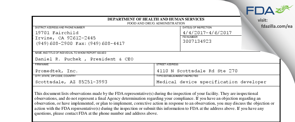 Promedtek FDA inspection 483 Apr 2017