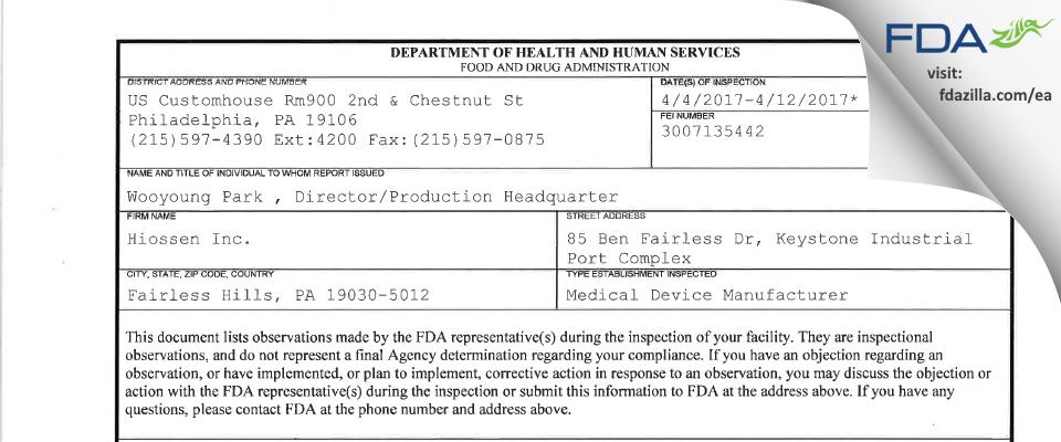 Hiossen FDA inspection 483 Apr 2017