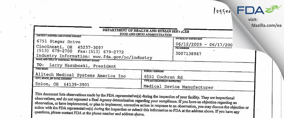 Alltech Medical Systems America FDA inspection 483 Jun 2009