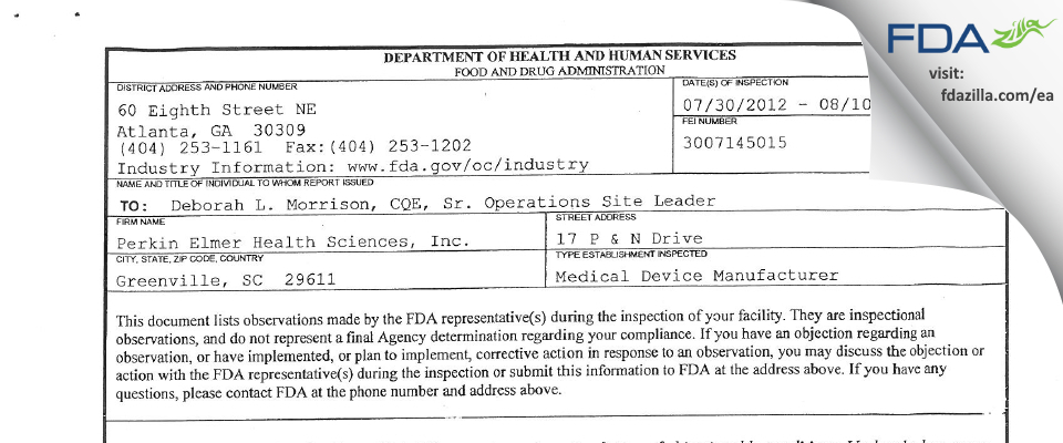 PerkinElmer Health Sciences FDA inspection 483 Aug 2012