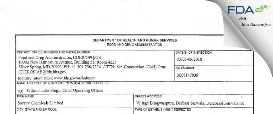 Saurav Chemicals FDA inspection 483 Mar 2018