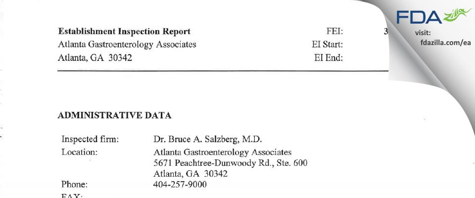 Salzberg, Bruce A. FDA inspection 483 Dec 2008