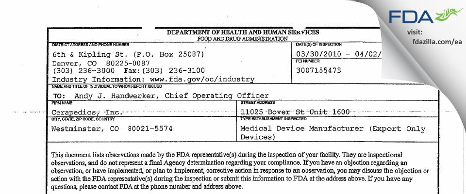 Cerapedics FDA inspection 483 Apr 2010