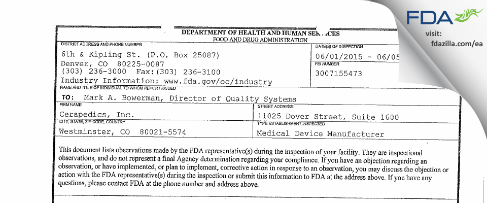 Cerapedics FDA inspection 483 Jun 2015