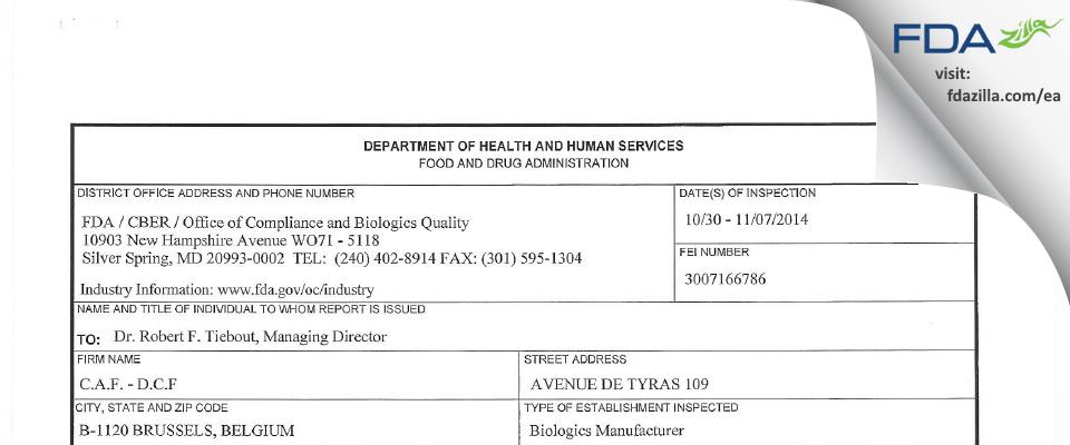 CAF-DAF scrl FDA inspection 483 Nov 2014