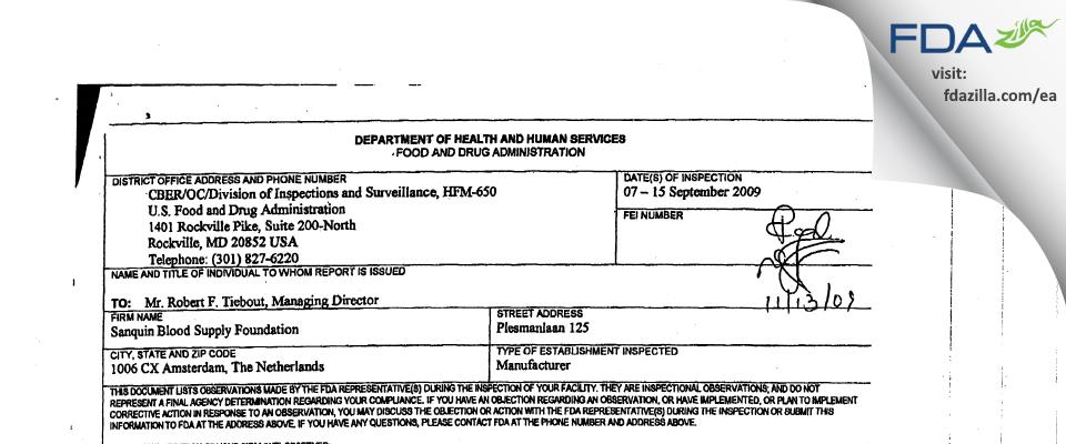 Sanquin Plasma Products B.V. FDA inspection 483 Sep 2009