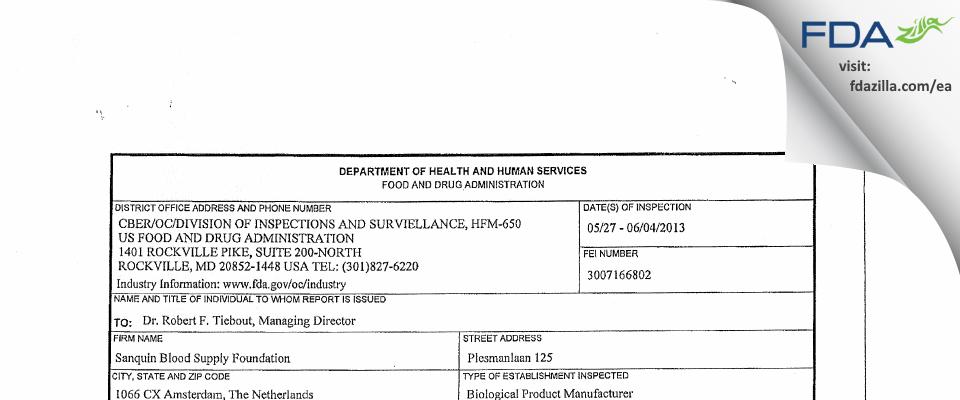 Sanquin Plasma Products B.V. FDA inspection 483 Jun 2013
