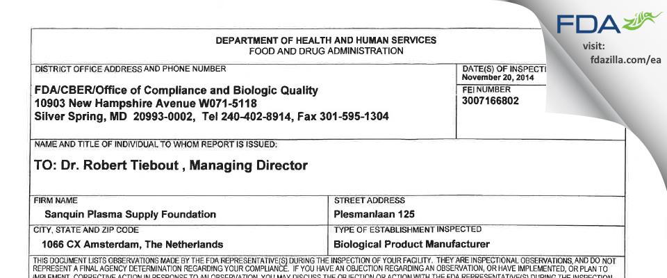 Sanquin Plasma Products B.V. FDA inspection 483 Nov 2014