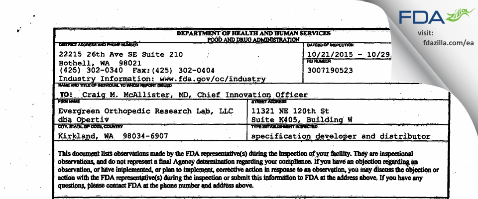 Evergreen Orthopedic Research Lab dba Opertiv FDA inspection 483 Oct 2015