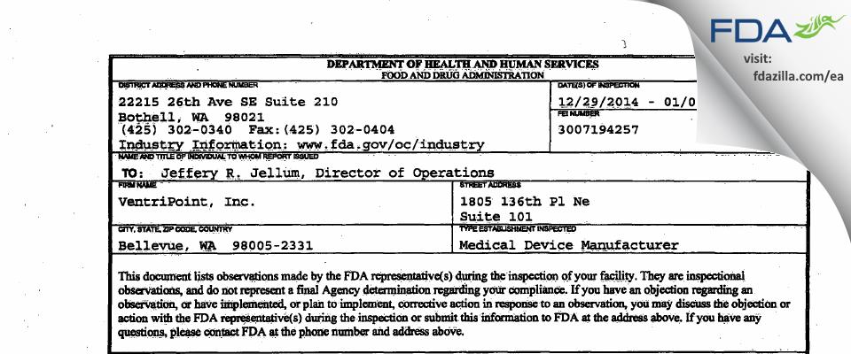 VentriPoint FDA inspection 483 Jan 2015