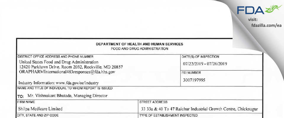 Shilpa Medicare FDA inspection 483 Jul 2019