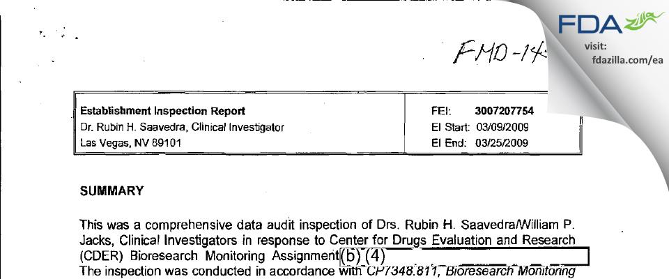 Dr. Rubin H. Saavedra FDA inspection 483 Mar 2009