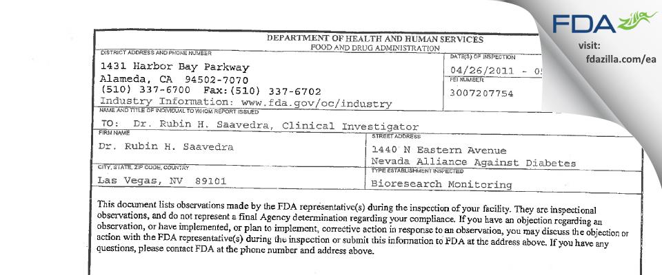 Dr. Rubin H. Saavedra FDA inspection 483 May 2011
