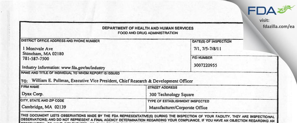 Dyax FDA inspection 483 Jul 2011