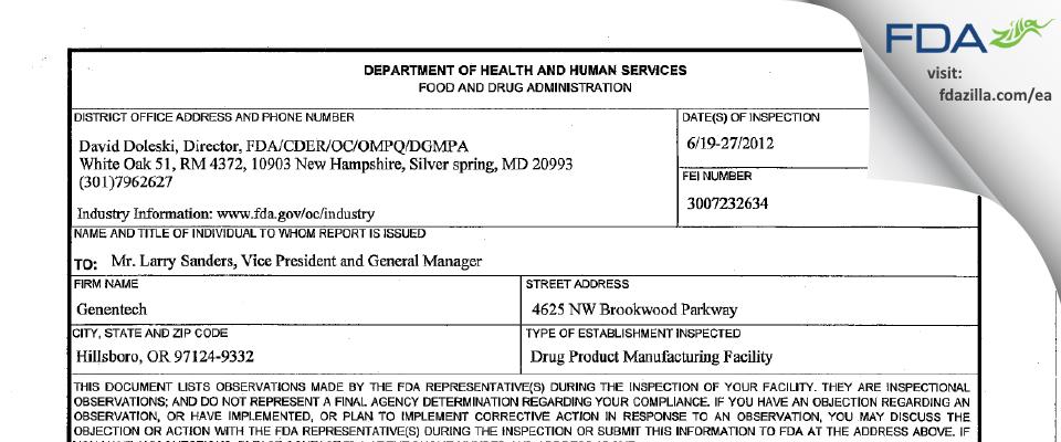Genentech FDA inspection 483 Jun 2012