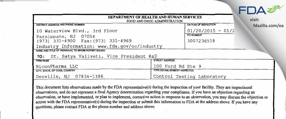 Riconpharma FDA inspection 483 Jan 2015