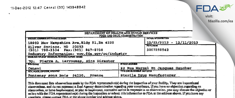 CenexiS FDA inspection 483 Dec 2012