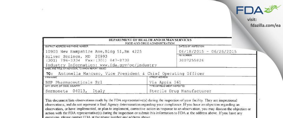 BSP Pharmaceuticals Srl FDA inspection 483 Jun 2015