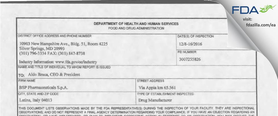BSP Pharmaceuticals Srl FDA inspection 483 Dec 2016