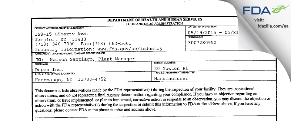 Depco FDA inspection 483 May 2015